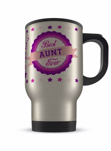 14oz Best Ever Female Relations Novelty Gift Aluminium Travel Mug - Pink/Purple